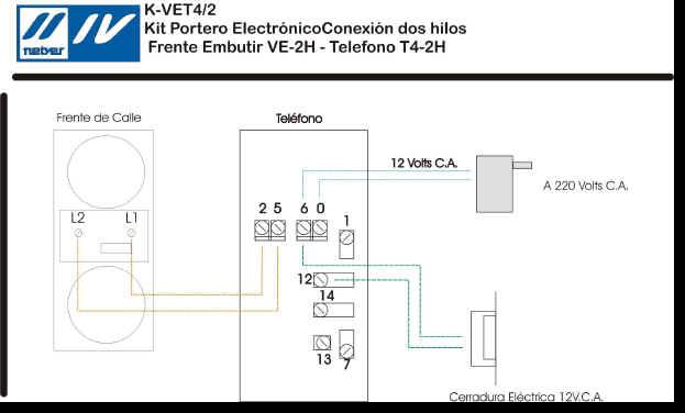 K vet4 2 conexi n 2 hilos - Instalacion de videoportero ...